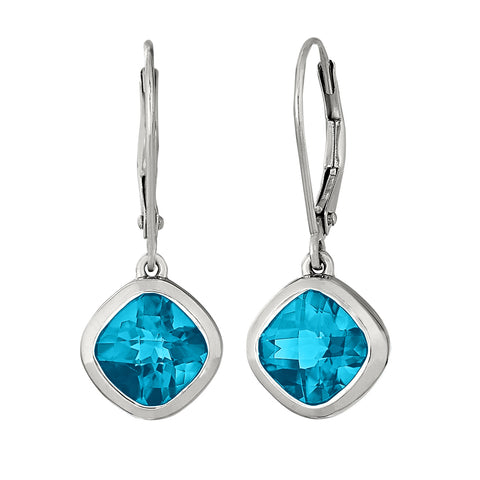 Dangle Cushion Blue Topaz Earrings - Petite