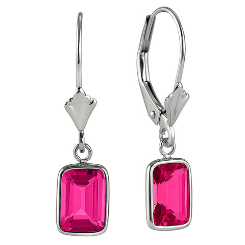 Modern Gold Wire Wrapped Radiant/Emerald Cut Pink Tourmaline Earrings
