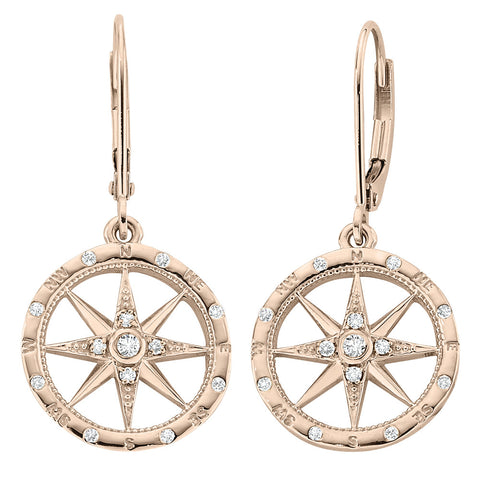 Windrose Compass Earrings in gold