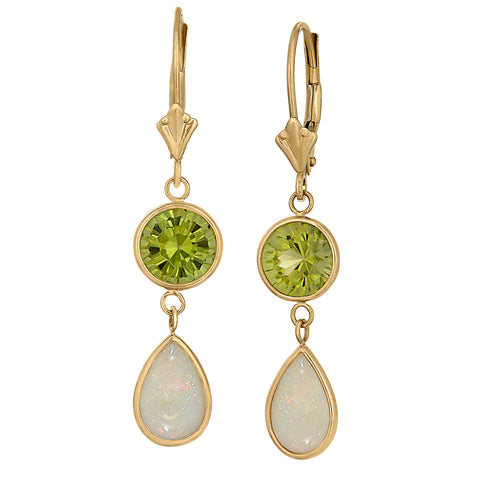 modern dangle earrings, opal and peridot earrings