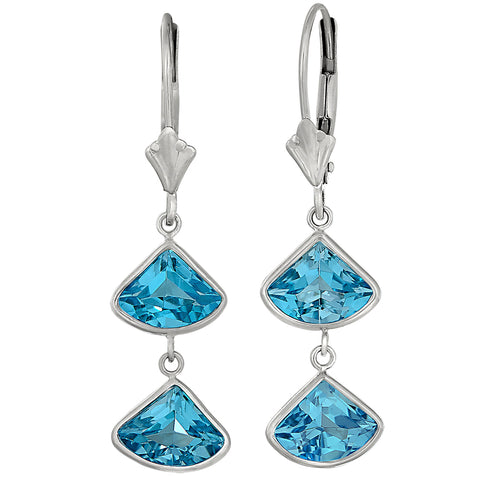 blue topaz fan earrings, segment cut earrings, blue topaz dangle earrings