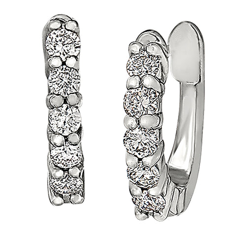 huggie style diamond hoop earrings