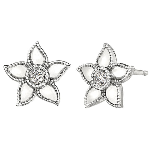 diamond solitaire flower earrings