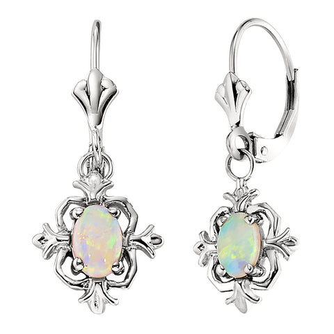 Fleur De Lis Dangle Earrings in Opal, October Fleur De Lis Birthstone, Vintage Style Fleur De Lis Opal Earrings