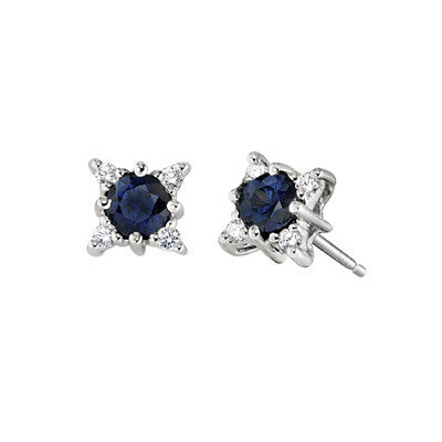 diamond and sapphire earrings, sapphire and diamond earrings, made in USA jewelry, david connolly jewelry, engel brothers