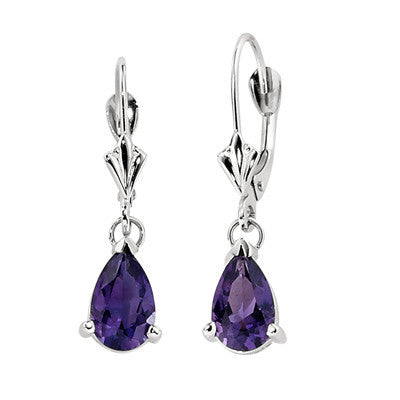 amethyst drop earrings, amethyst dangle earrings, amethyst fleur de lis earrings