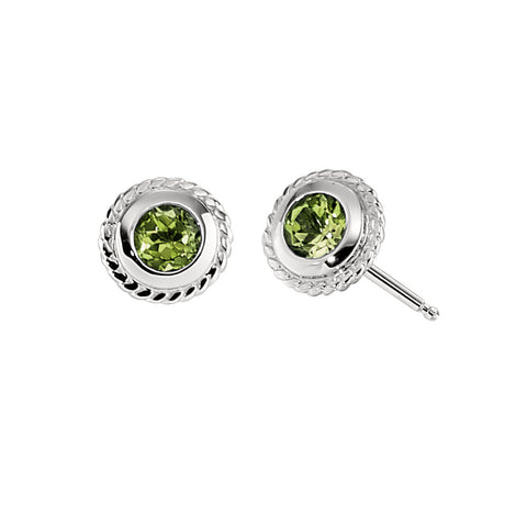 14K Peridot Bezel Set Rope Edge Earrings