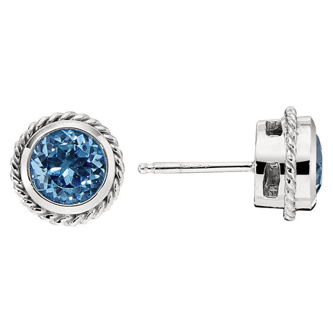 Blue Topaz Largest Bezel Set Rope Edge Earrings in 14KT White Gold