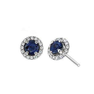 September birthstone, Sapphire Earring, Sapphire Earring, flower earring, flower earring, diamond and sapphire jewelry