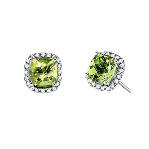 August Birthstone, Peridot Halo Earrings, Peridot Earrings