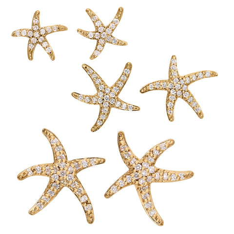 Smallest Size Diamond Starfish Earrings in 14K