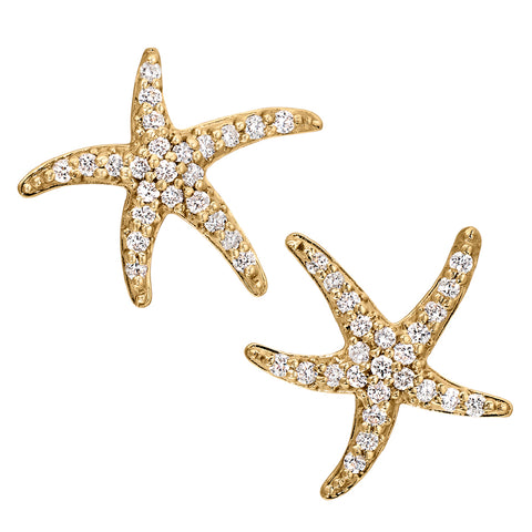 Medium Size Diamond Starfish Earrings in 14K