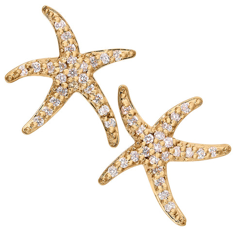 Largest Diamond Starfish Earrings in 14K