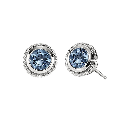Blue Topaz Medium Bezel Set Rope Edge Earrings in 14K White gold