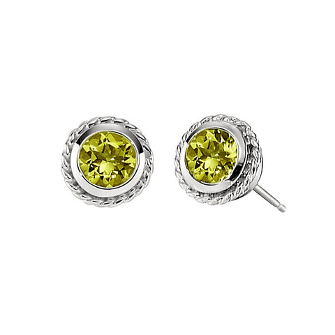 Peridot Larger Bezel Set Rope Edge Earrings in 14KT White gold