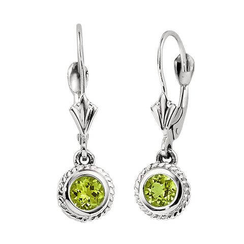 peridot birthstone earrings, august birthstone earrings, fleur de lis earrings