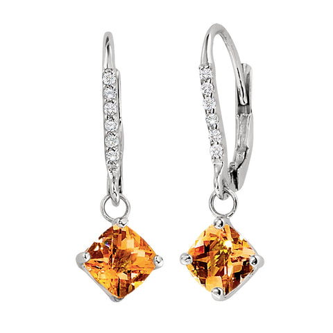 Diamond and Cushion Checkerboard Cut Gemstone Dangle Earrings