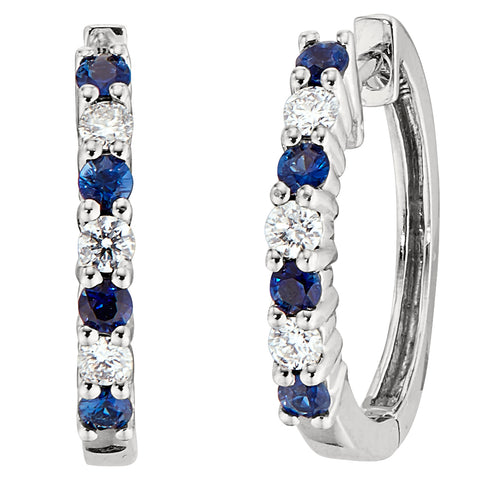 Sapphire and Diamond Hoop Earrings - Common Prong Setting
