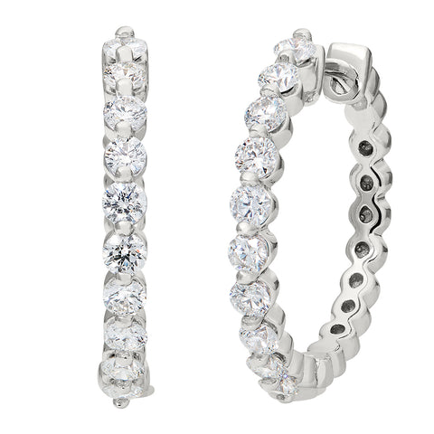 Common Prong Diamond Hoop Earrings- 1 carat total weight