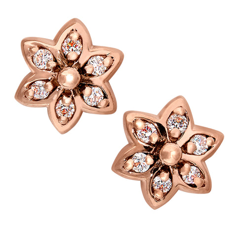 14K Pink Gold Diamond Flower Earrings