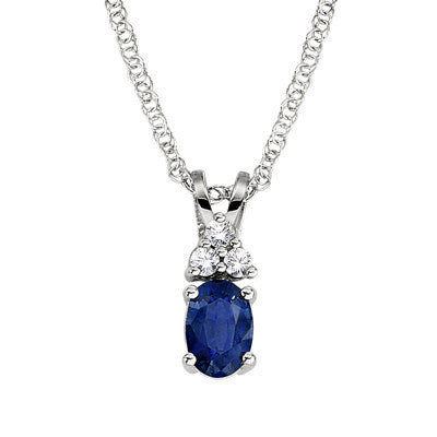 September birthstone, three stone accent pendant, three stone accent necklace, Sapphire penant, sapphire necklace,