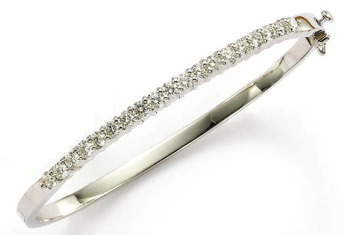 diamond bangle, white gold diamond bangle, made in USA jewelry