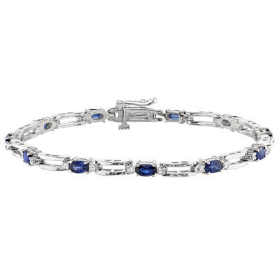 September birthstone, diamond and sapphire tennis bracelet, open link tennis bracelet, straight diamond bracelet