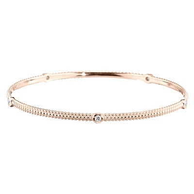 pink gold, pink gold diamond bangle, made in USA jewelry, pink gold bangles, diamond bracelet