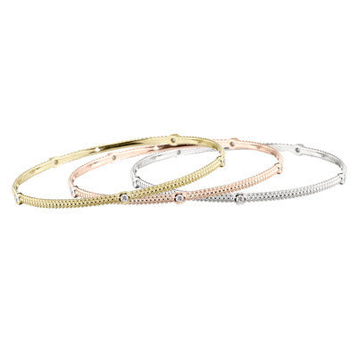 Pink Gold Diamond Stackable Bracelet Bangle
