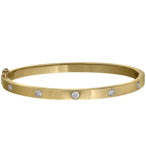 modern diamond bangle, bezel diamond bracelet
