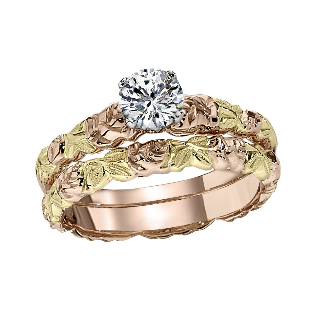 Pink And Green Gold Flower Wedding Ring