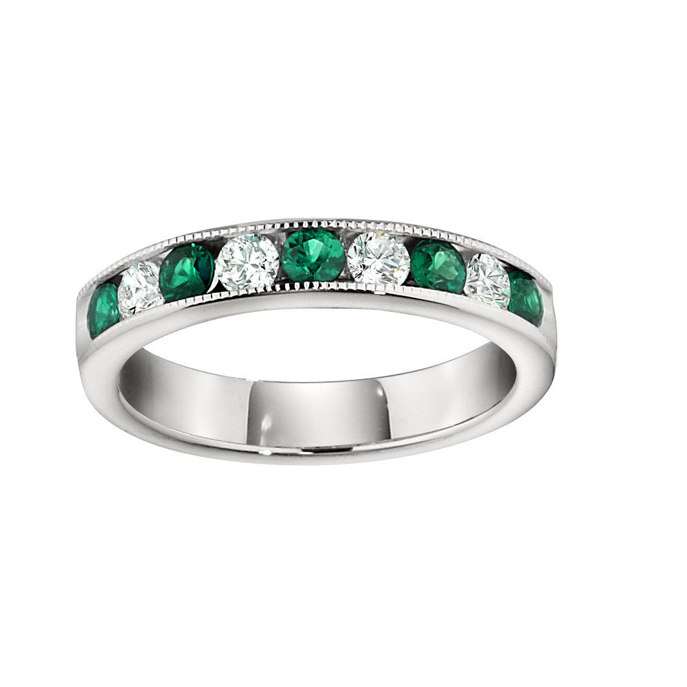 It is an image of Channel Set Emerald Wedding Rings with .45CT Diamonds
