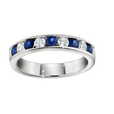 gemstone wedding bands, channel wedding band, diamond and sapphire channel band, made in USA jewelry, david connolly jewelry
