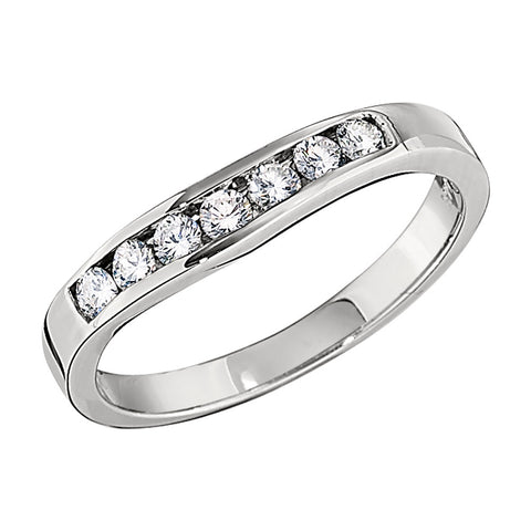 Gently Curved Weddings Bands with Channel Set Diamonds