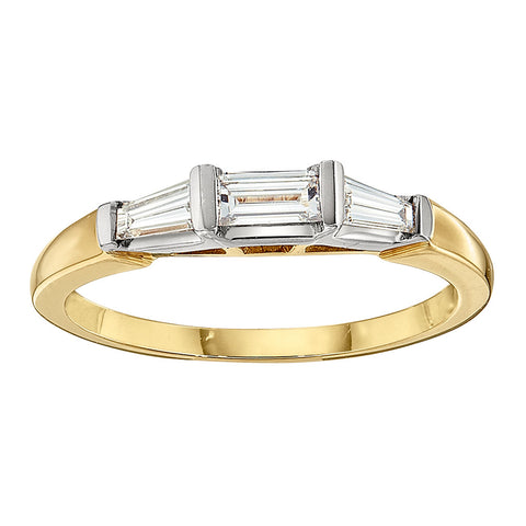 Three Stone Baguette Ring in 18K