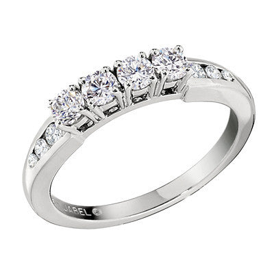 Four Stone Diamond Band Wedding Band With Channel Diamonds Bellas