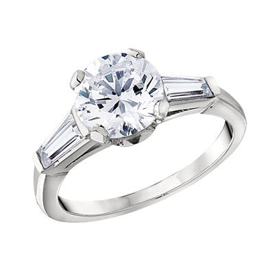 classic engagement ring settings, baguette engagement rings, three stone engagement rings