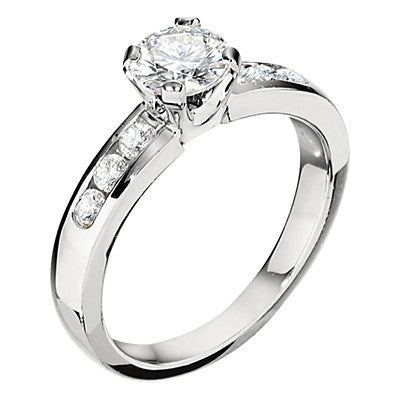 channel engagement rings, matching wedding bands