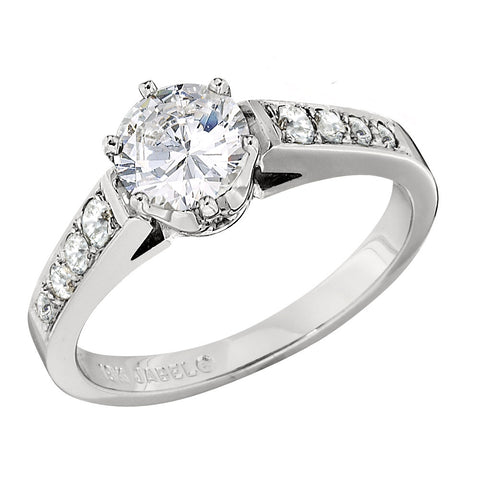 Bead Set Engagement Ring with Fancy 6 Prong Head