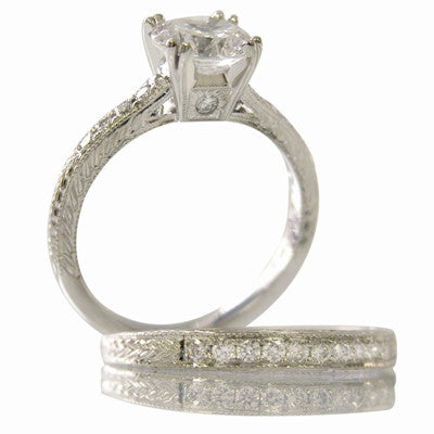 hand engraved engagement rings, antique inspired engagement rings, vintage style engagement ring, vintage engagement rings, heirloom engagement rings