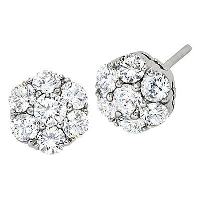 fancy diamond earrings, diamond studs, cluster diamond earrings, made in USA jewelry, die struck jewelry