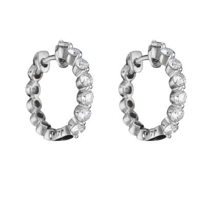 diamond hoop, diamond eternity hoop earrings, delicate diamond hoop earrings