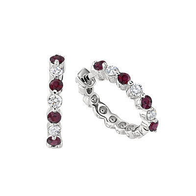 diamond hoop earrings, ruby earrings, ruby and diamond earrings, ruby and diamond hoops