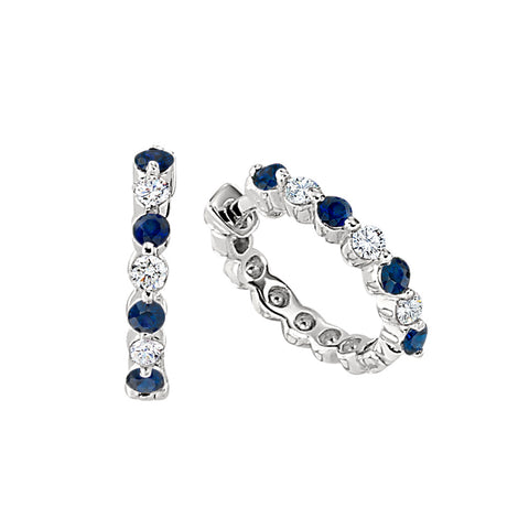 sapphire hoop earrings, sapphire and diamond hoop earrings, sapphires and diamond loop earrings
