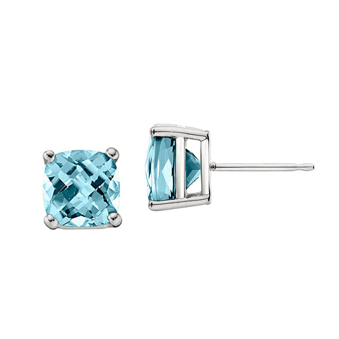 cushion checkerboard earring studs, aquamarine birthstone earrings unique