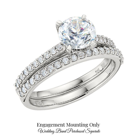 classic diamond band engagement ring, common prong diamond band engagement ring, simple diamond band engagement ring