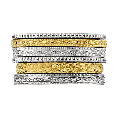Stackable Vintage Style Wedding Rings in White Gold and Platinum