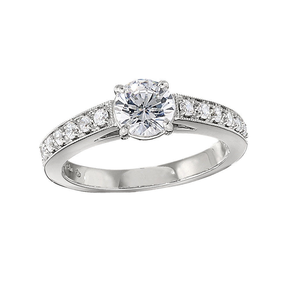 Low Set Diamond Engagement Ring with Bead Set Sides Bellas Fine