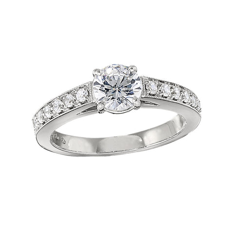 diamond band engagement rings, classic engagement rings, bead set engagement rings