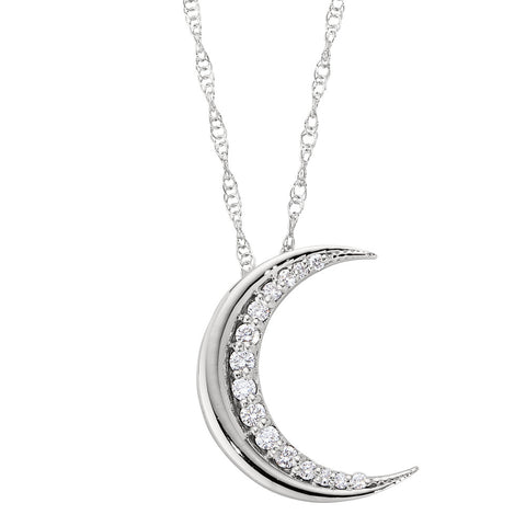 Large Diamond Moon Necklace with Chain in 14K
